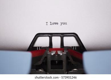 Landscape Close Up of I Love You Typed on Vintage Typewriter