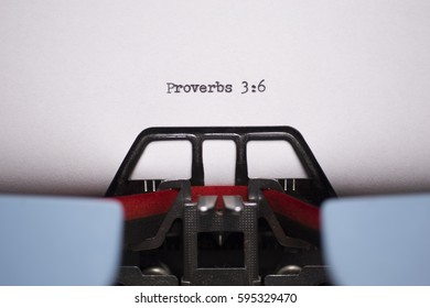 Landscape Close Up of Proverbs 3:6 Typed on Vintage Typewriter