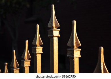 Landscape close up view of shiny gold fence tops against dark background.
