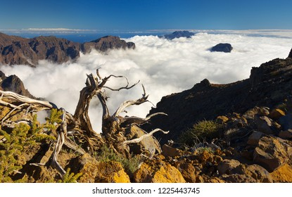 Landscape with clouds in the crater Caldera de Taburiente, Island of La Palma, Canary Islands, Spain