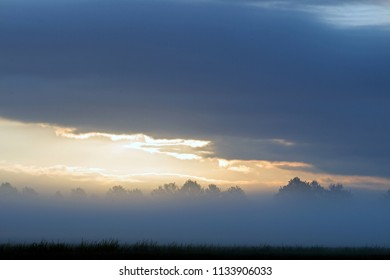 Landscape with clouds in morning light at the Kremersdijkje in Alteveer, the Netherlands