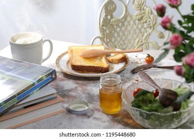 Landscape of cluttered breakfast