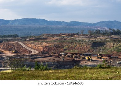 Landscape of coal mine in Mae Mo, Lampang view balcony.