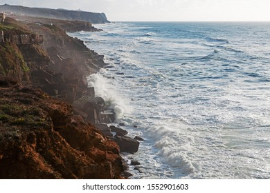 Landscape with the coast of the Atlantic Ocean and big waves