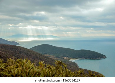 landscape of the coast in Maremma, at Uccellina national park, Grosseto province in Tuscany. Italy