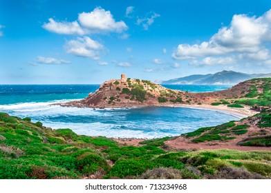 Landscape of the coast of porticciolo in a windy day of autumn - Alghero - Sardinia - Italy