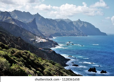 landscape of the coast of Tenerife in the Atlantic ocean, view from The Draguillo, with Roques,