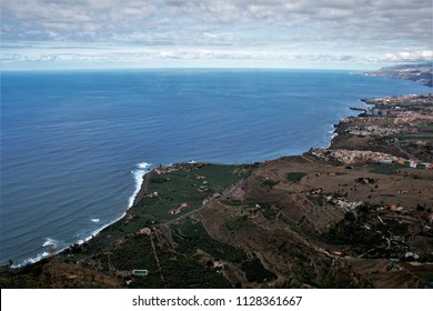 landscape of the coast of Tenerife in the Atlantic ocean, Elevated view of the north coast of Tenerife from the Lance viewpoint in Icod Alto,