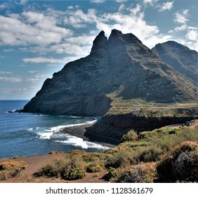 landscape of the coast of Tenerife in Taganana, the Atlantic ocean