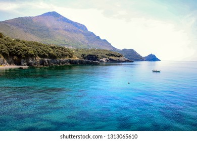 Landscape of coastline and sea of Maratea, Basilicata, Italy