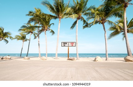 Landscape of coconut palm tree on tropical beach in summer. beach sign for surfing and swim. Vintage effect color filter.
