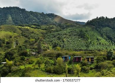 Landscape of Coffee region in Jardin Colombia. it is the one city of coffee region in Colombia you much going visit.