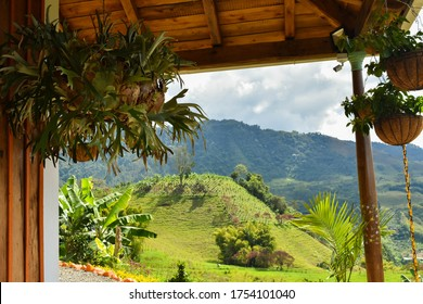 The landscape of coffee regions in Jardin, Colombia.
