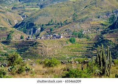 Landscape colca canyon, archaeological remains