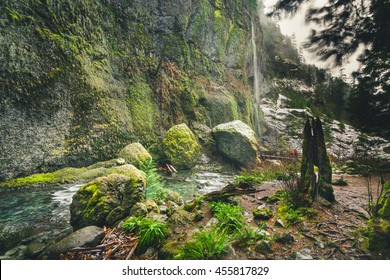 Landscape of Columbia River Gorge, Oregon, United States. This landscape of Oregon is at the trail to Wahclella Falls. This landscape has a trail, river flows, snow, forest, and woman tourist.