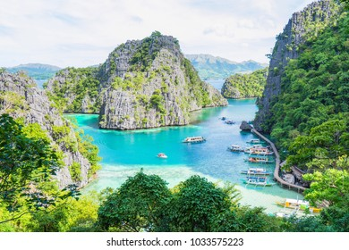 Landscape of Coron, Busuanga island with rocks, Palawan province, Philippines.