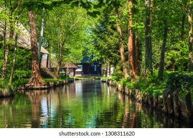 Landscape with cottage in the Spreewald area, Germany.