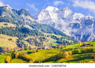 Landscape Country and Mountain View On The Train (Matterhorn Gotthard Bahn) At Autumn Season From Bern to Zermatt, Switzerland