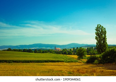 Landscape of the countryside area near mountains