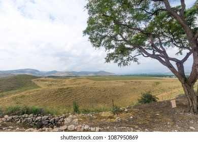 Landscape of countryside and the Galilee mountains in the Hula Valley, view from Tel Hazor, Northern Israel