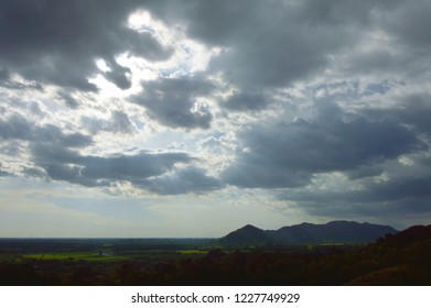 landscape of countryside from Khao Lon mountain in Thailand