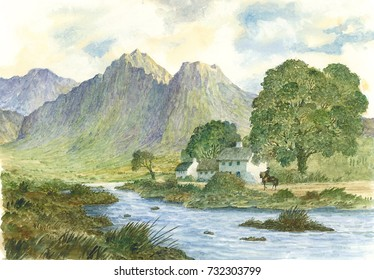 Landscape, Countryside, Mountains,Trees, Stream, Small Group of Houses and Rider, Watercolor Painting