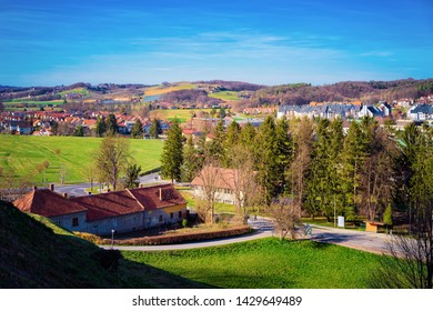Landscape with countryside in Ptuj old town in Slovenia. Cottage architecture in village in Slovenija. Travel