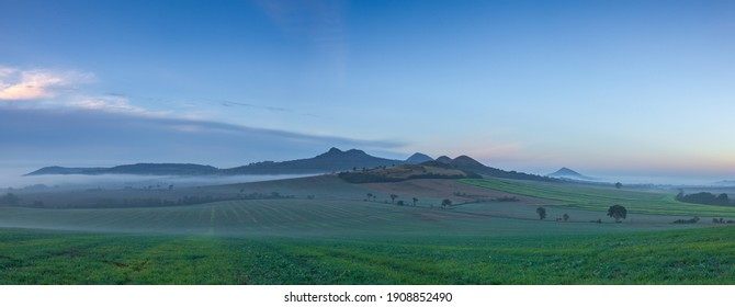 Landscape covered with fog in Central Bohemian Uplands, Czech Republic. Central Bohemian Uplands is a mountain range located in northern Bohemia. The range is about 80 km long