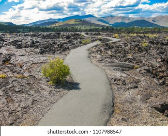 Landscape of the Craters of the Moon National Monument and Preserve between Twin Falls and Idaho Falls in Idaho, United States.