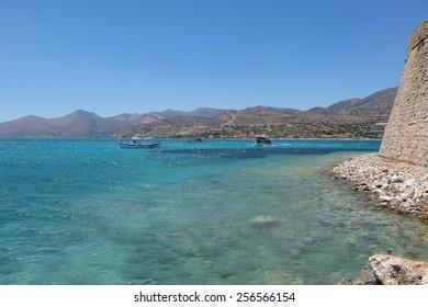 Landscape of crete costline from spinalonga island Crete