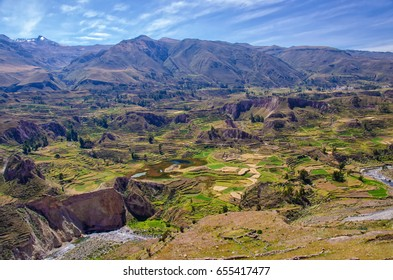 Landscape, crops with clouds, colca canyon