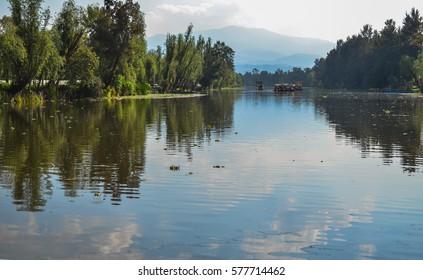 Landscape of Cuemanco channel in Xochimilco, Mexico City