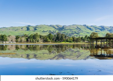 Landscape in Cunningham Lake; green mountains in the background, San Jose, south San Francisco bay, California