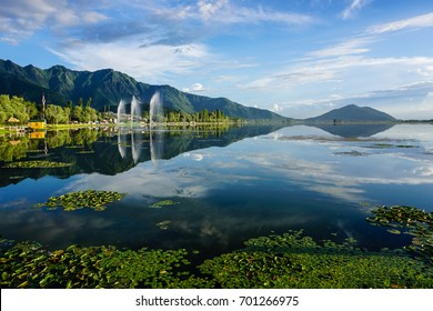 Landscape of Dal Lake in Srinagar, India. Srinagar is the summer capital of the Indian state of Jammu and Kashmir and the largest city in the Kashmir region.