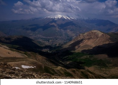 A landscape of Damavand mountain in springtime in Iran.
