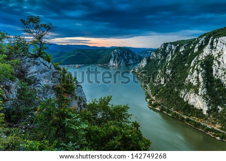 "landscape in the Danube Gorges ""Cazanele Mari"" seen from the Romanian side"