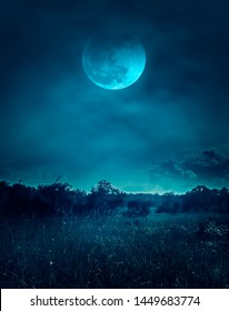 Landscape of dark night sky with clouds. Beautiful bright full moon above wilderness area in forest, serenity nature background. Outdoors at nighttime. The moon were NOT furnished by NASA.
