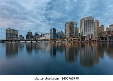 Landscape of Darling Harbor with Sydney central business district at dusk in Sydney, New South Wales, Australia