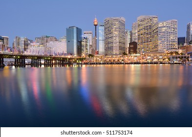 Landscape of Darling Harbor with Sydney central business district at dusk in Sydney, New South Wales, Australia.