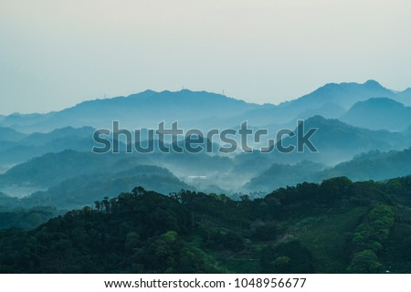 Landscape of Dashanbei at dawn, shot in Hengshan Township, Hsinchu, Taiwan. - Image