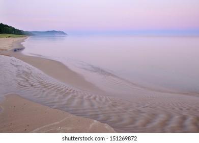 Landscape at dawn of Lake Michigan shoreline, Sleeping Bear Dunes National Lakeshore, Michigan, USA