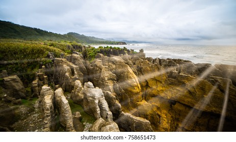 Landscape Dawn light of pancake rocks and blowholes in Punakaiki, beautiful place at Paparoa National Park on the South island of New Zealand
