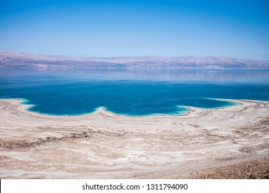 landscape of the Dead Sea, failures of the soil, illustrating an environmental catastrophe on the Dead Sea for Israel and Jordan