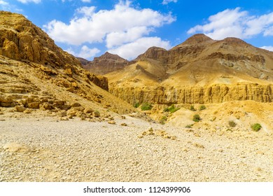 Landscape of desert cliffs, in the Ein Gedi Nature Reserve, Judaean Desert, Southern Israel