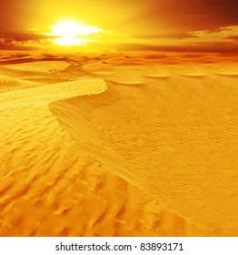 Landscape of desert dune in Sahara.