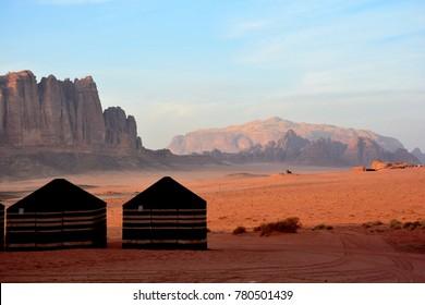 The landscape of the desert of Wadi Rum, Jordan.
