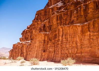 Landscape of the desert of Wadi Rum, The Valley of the Moon,  southern Jordan.