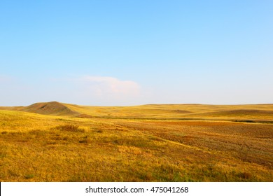 Landscape of the deserted steppe. Kazakhstan.