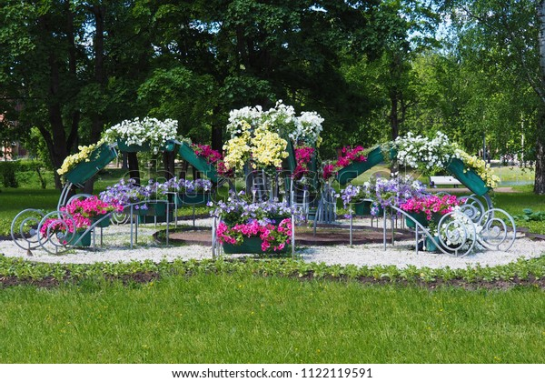 Landscape Design Flowers Petunia Flowering Garden Stock Photo