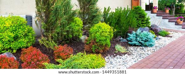 Landscape Design Home Garden Landscaping Flower Stock Photo Edit Now 1449351881
